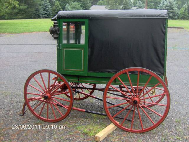 Amish Wagon Parts : A view of the driver side wagon has sliding